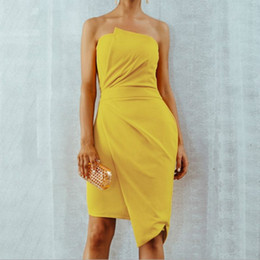125d83fc003 2019 robe jaune peplum pour femmes En gros De Mode Sans Bretelles D été Robe