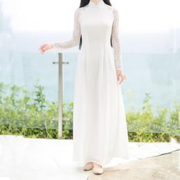 abiti americani cinesi Sconti 2018 estate tradizionale vietnam ao dai farfalla stampa elegante abito a fessura donne chinoise moderno cheongsam abiti da festa qipao