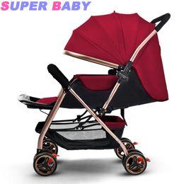 Carrinhos leves dobrados on-line-Carrinho de bebê sentado reclinável leve dobrável carrinho de criança de alta paisagem em dois sentidos crianças carrinho de crianças