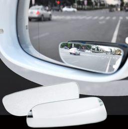 vw cc fibre de carbone Promotion 360 sans cadre angle mort miroir voiture style grand angle HD verre convexe vue arrière miroirs de stationnement