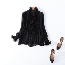 Wholesale Two Color Collar Shirt - European and American women's wear in 2018 The new spring collar Long sleeve Black fungus edge + vest Silk shirt Two pieces