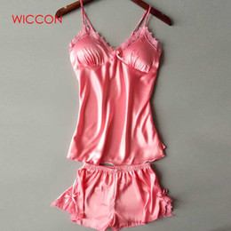WICCON Fashion Two Piece Set Women Sleepwear Faux Silk Pajamas Sexy Chest  Pad Nightwear Women 2018 Summer Lace Homewear 339808634