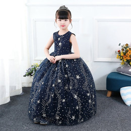 32392000b97 Wholesale-Kids Fashion Outfits Starry Sky Formal Prom Dress Sleeveless Star  Evening Gown Party Wedding Princess Long Dresses KA827