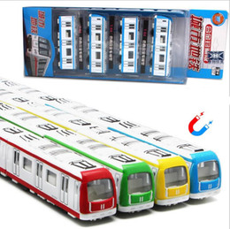 Wholesale Train Scale Model - 1:64 scale magnetic alloy toys,pull back subway rail car models,die-casting metal model toys, children's gifts,free shipping