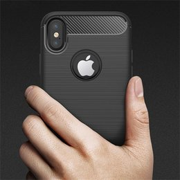 Wholesale Fibre Case - Phone Cases Shell Carbon Fibre Brushed Soft TPU Case Back Cover For Iphone X Iphone Phones