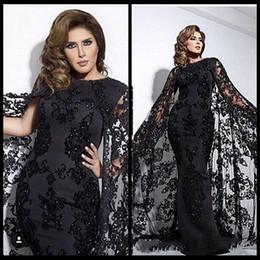 Wholesale Delicate Lace Evening Dress - Delicate Arabic Dubai Black Lace Satin Mermaid Evening Dresses with Capes Jewel Neck Appliques Beaded Long Dresses Party Evening