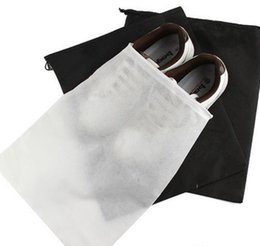 Wholesale Hanging Shoe Bag Organizer - Hot Portable Travel Storage Bag For Shoes Non-woven Drawstring Shoes Bags Clothes Underwear Pouch Organizer White Black