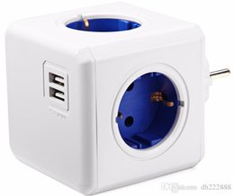 Wholesale usb socket power - Allocacoc Charging Dock Original PowerCube Socket EU Plug 5 Outlets Adap ter-16A 250V 3680w Power Cube USB socket multi-functional socket f6