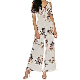 Wholesale Vintage Playsuits - Women summer wide leg pants casual playsuits vintage V neck floral jumpsuits High waist rompers