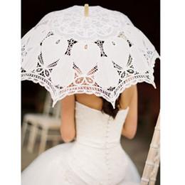 Wholesale Ladies Umbrella - 100%Cotton Handmade Vintage Beige&White Battenburg Lace Parasol Heart Shape Umbrella For Lady