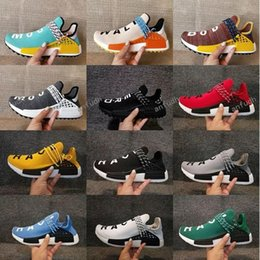 Wholesale pale blue - Human Race Hu trail NERD Running Shoes Men Women Pharrell Williams Yellow noble ink Pale Nude Sun Glow Core Black Red Blue Runner Sneakers