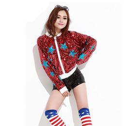 Veste à paillettes pour la danse en Ligne-Haut à manches longues Hip Hop Dance Costumes Bomber Jacket Sequin Manteaux