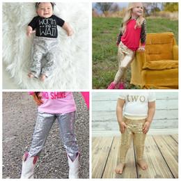 2019 leggings cortados 17 cor Primavera Outono Novas meninas Leggings crianças ouro lantejoulas pp calças crianças Bottoms princesa calças de qualidade superior leggings cortados barato