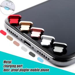 Envio de boné de pele on-line-Liga de Alumínio Universal Anti Poeira Plug Cap Telefone Pele De Metal Carregador USB Porta Rolha para o iPhone 5s 6 s 7 X além de frete grátis