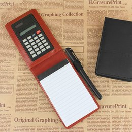 Wholesale A7 Notebook - RuiZe creative stationery pu leather pocket notebook notepad diary memo A7 planner Multifunction mini note book with calculator