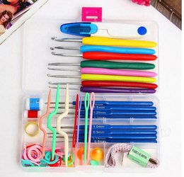 Wholesale needle crafts - 16 Sizes Crochet Hooks Knitting Needles Stitches Case Crochet Set Craft Tool Kit Yarn Hook Stitch Weave Accessories OOA4468