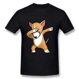 Touro grande on-line-Collar Rodada dos homens Engraçado Fawn Inglês Bull Terrier Dabbing T Camisa Gola Redonda Para O Menino Casual Para O Homem Grande Tamanho Homme Camiseta