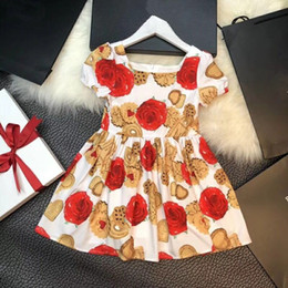 Wholesale Puffs Clothing - Baby Girls Dress Brand 2018 Summer Princess Dress Style Floral Print Party Dresses For Girls Vintage Toddler Girl Clothing