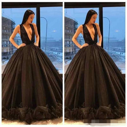 Wholesale V Neck Button Up - 2018 Middle East Dubai Abaya Ball Gown Evening Dresses Sexy Plunging V Neck Black Prom Dresses Sleeveless Ruffles Button Skirts