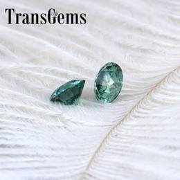 Diamanti artificiali online-TransGems 6.5mm 1Carat Green Color Certified Man made Diamond Loose moissanite Bead Test Positivo come vero diamante Gemstone 1pz