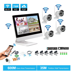 Wholesale video security surveillance systems - Wireless Surveillance System Network 10.1 Inch LCD Monitor NVR Recorder Wifi Kit 4CH 720P HD Video Inputs Security Camera