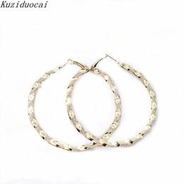 Wholesale Circle Shaped Earrings - Kuziduocai 2017 New ! Fashion Fine Jewelry Zinc Alloy Metal Twist Circle Shape Printing Hoop Earrings Women Ladies Gift E-645
