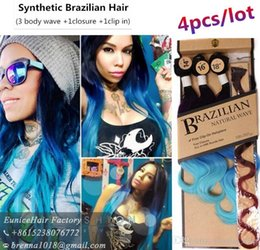 Wholesale blonde synthetic weave - Ombre blue hair 14''16''18'' synthetic brazilian hair weave bundles ombre blonde P27 613 women body wave hair