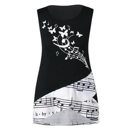 a71031f1d5452 2019 camisas de túnica preta Mulheres colete regata verão sem mangas nota  musical impressão floral camisa