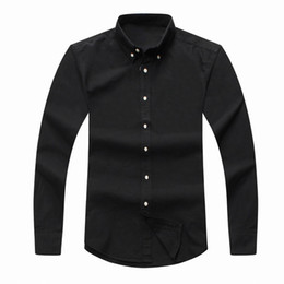 Wholesale mens satin casual shirts - top 2018 mens Designer long sleeved Casual Solid shirt men's USA Brand RL Polos Shirts fashion Oxford social shirts Small Horse Dress Shirts