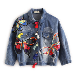 Wholesale Tassel Breast - 2018 New arrival women's butterfly Embroidery denim jacket Women Jeans Coats Lady's casual loose coat Female fashion outerwear