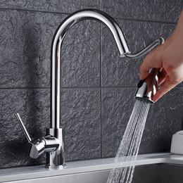 dusche warmwasser-mixer Rabatt Freies Verschiffen Messingküchenchromhähne heißes und kaltes Wasser klopfen Spülbeckenhahnhahnmischer mit ziehen Duschkopf herunter