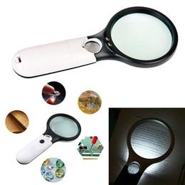 leitura do microscópio Desconto Lente ampliador 3 DIODO EMISSOR de Luz 45X Lente de Vidro Lente Handheld Mini Microscópio de Bolso Jóias de Leitura GGA681 50 pcs