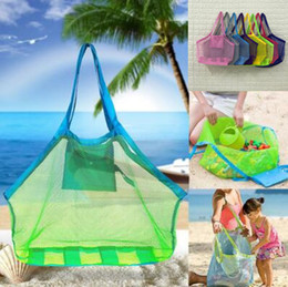 Wholesale portable sand - 8 Colors Mesh Beach Totes Portable Large Sand Away Beach Bag Beach Mesh Bag Shell Collect Storage Bags Foldable Shopping Bags CCA9978 120pcs
