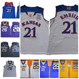 d815079e09f8 NCAA Kansas Jayhawks   21 Embiid Jersey LSU Tigers   25 Simmons 20 Fultz  Best Quality College Basketball Joel Ben Markelle Maglie ben simmons jersey  ...