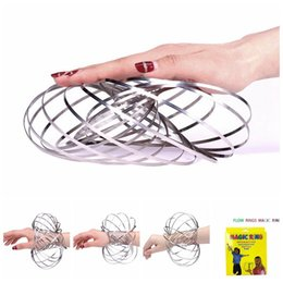 Wholesale Spinner Game - Toroflux Flow Rings Amazing Funny Outdoor Game Magic Rings Metal Toroflux Spinner Toys With Retail Package 50pcs OOA4748