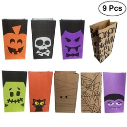 kids wholesale goodies Promo Codes - 9pcs Halloween Gift Goody Candies Bags Party Favors Cookies Chocolates Biscuits Paper Bags for Kids Festival Celebration