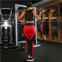 Wholesale Color Mix Pants - Heart Yoga Pants Women Fitness Sexy Hips Push Up Leggings Mesh Sport Running Tight Pants Women Slim Gym clothing Leggings Fitness Wear