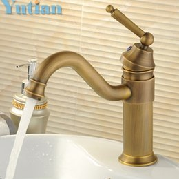 Wholesale Thermostatic Bath Faucet - Free shipping vintage faucet antique finishing brass taps bath mixer basin faucets hot and cold torneiras vintage YT-5046