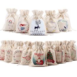 pack blanc neige Promotion 14 Styles Toile De Noël Père Noël Sacs À Cordon Cadeaux De Noël Bonhomme De Neige Santa Décorations De Noël Bonbons Cadeau Sacs