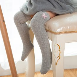 Wholesale High Quality Girls Socks - High Quality Sweet Kids Baby Girls Sock Cotton Toddlers Leg Warmers Korean High Over Knee Bow Soft Princess Long Socks White