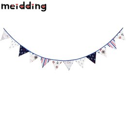 Wholesale marine supplies - MEIDDING 1Set 3.3m Sea Pirate Marine Bunting Banners Cotton Cloth Hanging Party Triangular Flags Holiday Pennant Decor Supplies