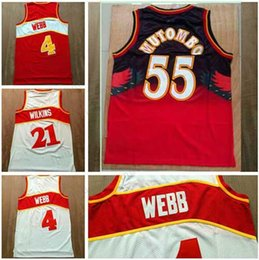 Wholesale White Mesh Shirt - Men Mesh Throwback Basketball Jerseys White Red Spud Webb Uniforms Dominique Wilkins Jersey Dikembe Mutombo High Quality Embroidery Shirts