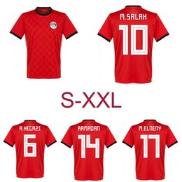 Wholesale Polyester Short Sleeve Shirts - 2018 Egypt Soccer Jersey M. SALAH 10 world cup Home Red 18 19 KAHRABA national team men short sleeve footbal SHIRT maillot de foot