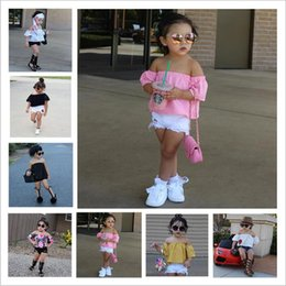 2a8f8eadf6f Baby Clothes Girls Ins Summer Outfits Cotton Short Sleeve Strapless Shorts  Suits Floral Lace Boob Tube Tops Pants Jeans Kids Clothing B3854