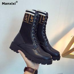99c092f2803 Botines mujer 2018 nueva moda botas de goma Martin botas delanteras  elásticas de punto calcetines zapatos gruesos botas bajas invierno de las  mujeres