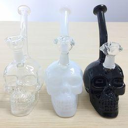 Wholesale Head Skulls - Black White Glass Skull Head Glass Bong Oil Rig Recycle Bowl Herb Beaker Gravity Glass Water Pipe Dab Rig Recycler Smoking Pipe Hookah