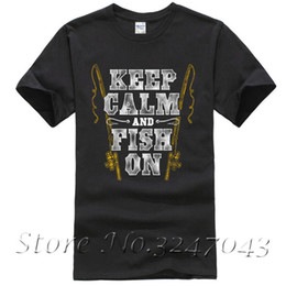 Wholesale mens fishing shorts - Keep Calm & Fish On Fishinger Rod Mens T-Shirt 100 % Cotton T Shirt For Boy Short Sleeve