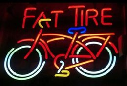 Wholesale Lighted Tire Signs - Custom New FAT TIRE Real Glass Neon Sign light Beer Bar Sign Send need photo 19x15""