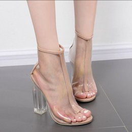 Wholesale Transparent Crystal Boots - Hot high-heeled fish head PVC transparent crystal thick with summer women's boots fashion new party casual women's high heels