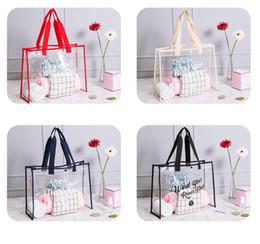 Wholesale transparent shopping bags - Transparent PVC handbag Travel Beach Bag Women Shopping Clear Shoulder Handbag Organizer Storage Summer Bag GGA658 10pcs